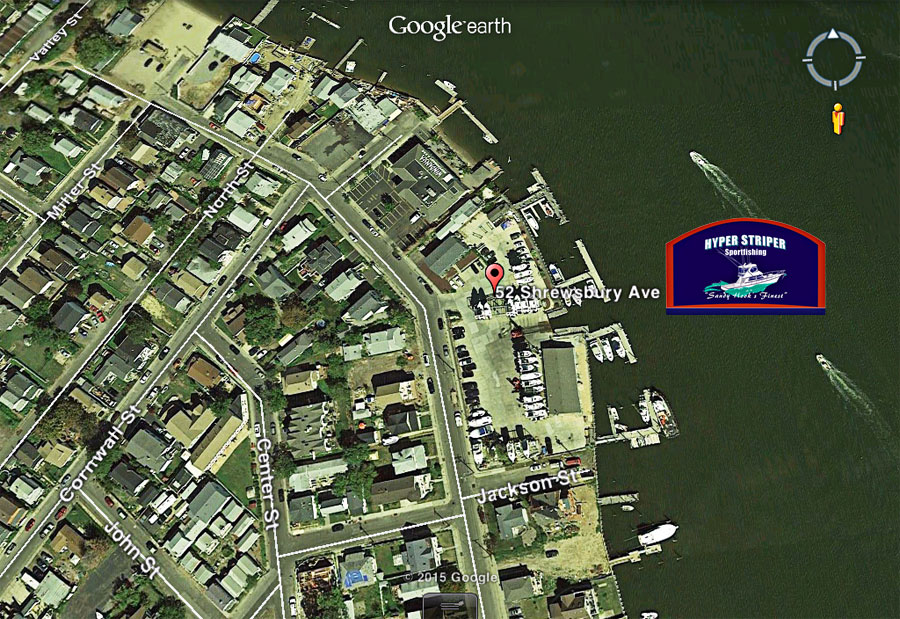 Hyper Striper Fishing Charters in Sandy Hook Location Map & Directions.. Inshore Fishing Boat Charters ..Offshore Deep Sea Fishing Charter, Visit Our New Website For More Information on Fishing Charters in Sandy Hook NJ